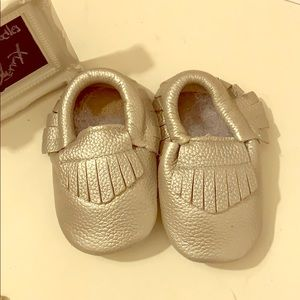 Baby leather Moccasins-silver